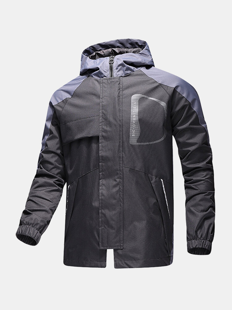 Mens Contrast Patchwork Zip Front Loose Hooded Jackets With Zipped Welt Pockets