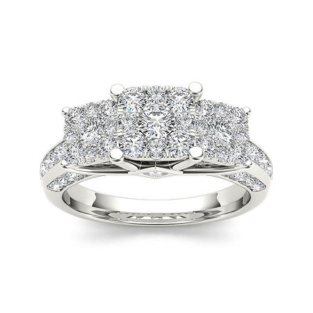 1 1/2 CT. T.W. Diamond Cluster 10K White Gold Engagement Ring, 8 , No Color Family