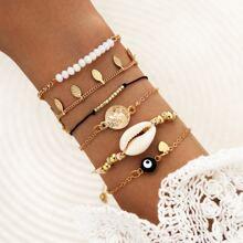 6pcs Shell Decor Bracelet