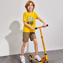 Boys Letter and Car Print Top & Pocket Patched Shorts Set