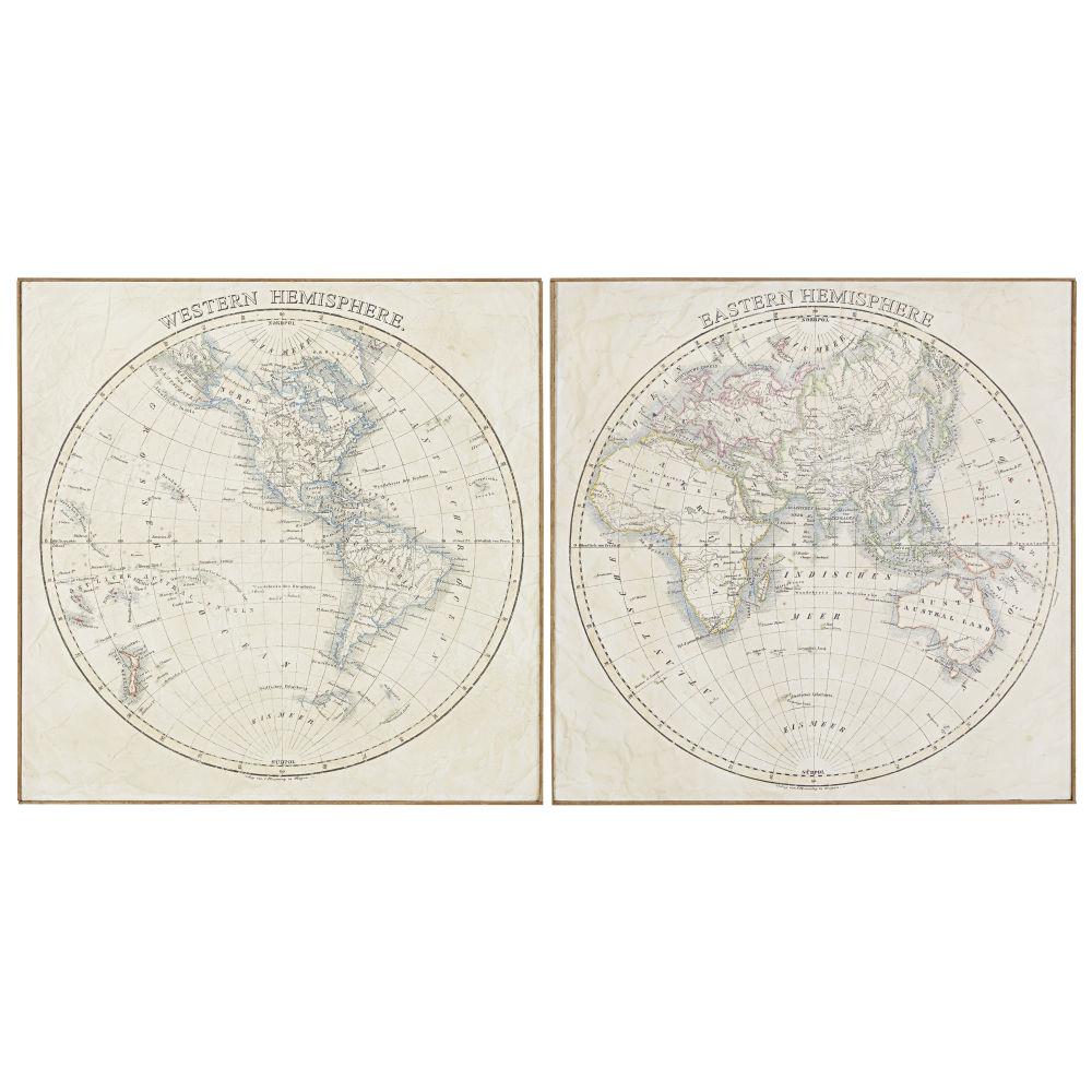 2 Leinwaende, bedruckt mit Weltkarten- und Bambusmotiv 162x81