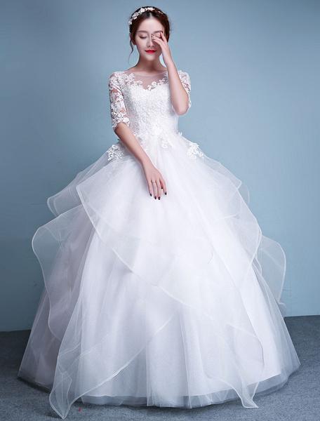 Milanoo Princess Ball Gown Wedding Dresses Applique Ivory Lace Half Sleeve Tulle Floor Length Bridal Dress