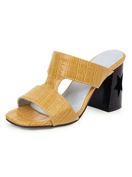 Milanoo Bloque de las mujeres del talon mulas de plata con punta abierta zapatillas mas el tamaño de los zapatos