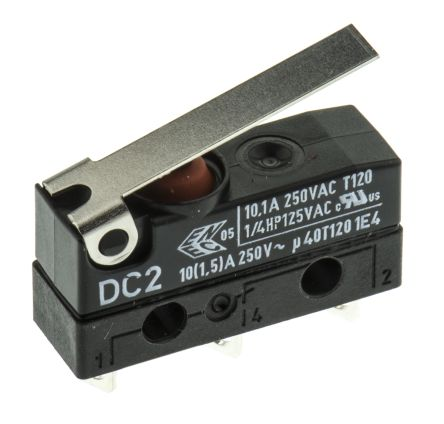 ZF SPDT-NO/NC Hinge Lever Microswitch, 10.1 A @ 250 V ac