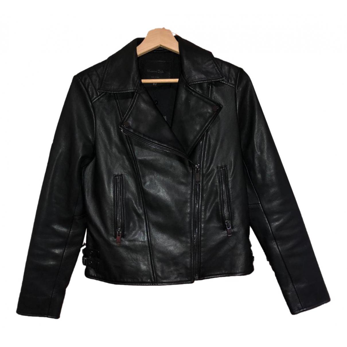 Massimo Dutti - Veste   pour femme en cuir - noir
