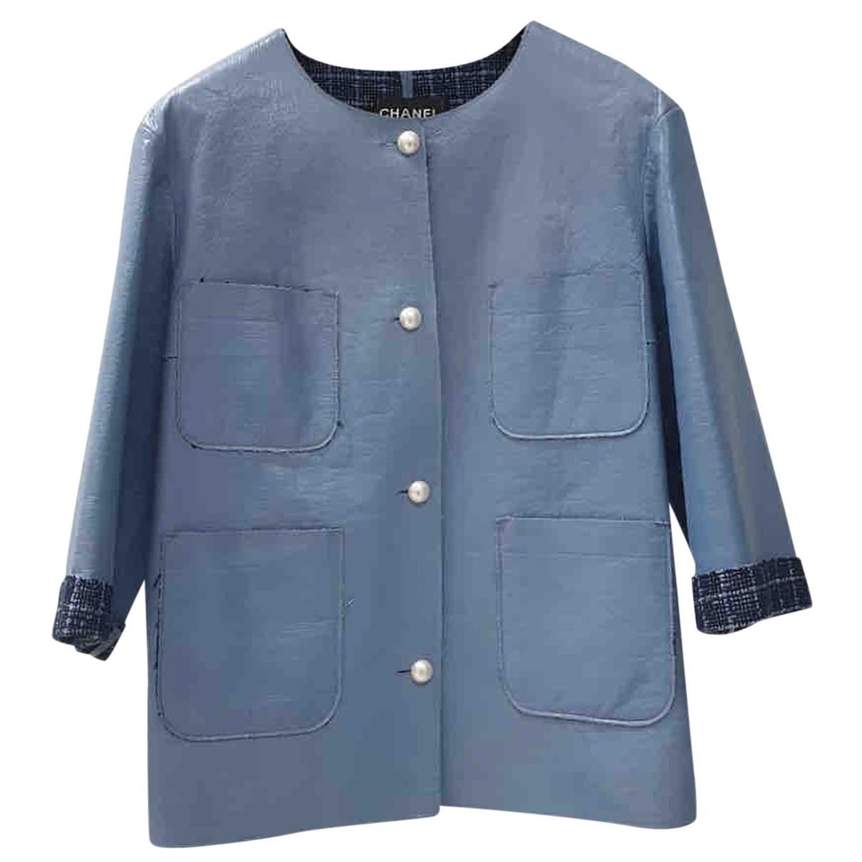 Chanel \N Lederjacke in  Blau Leder