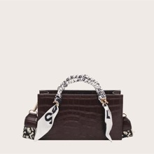 Bolso cartera con diseño de cocodrilo con pañuelo