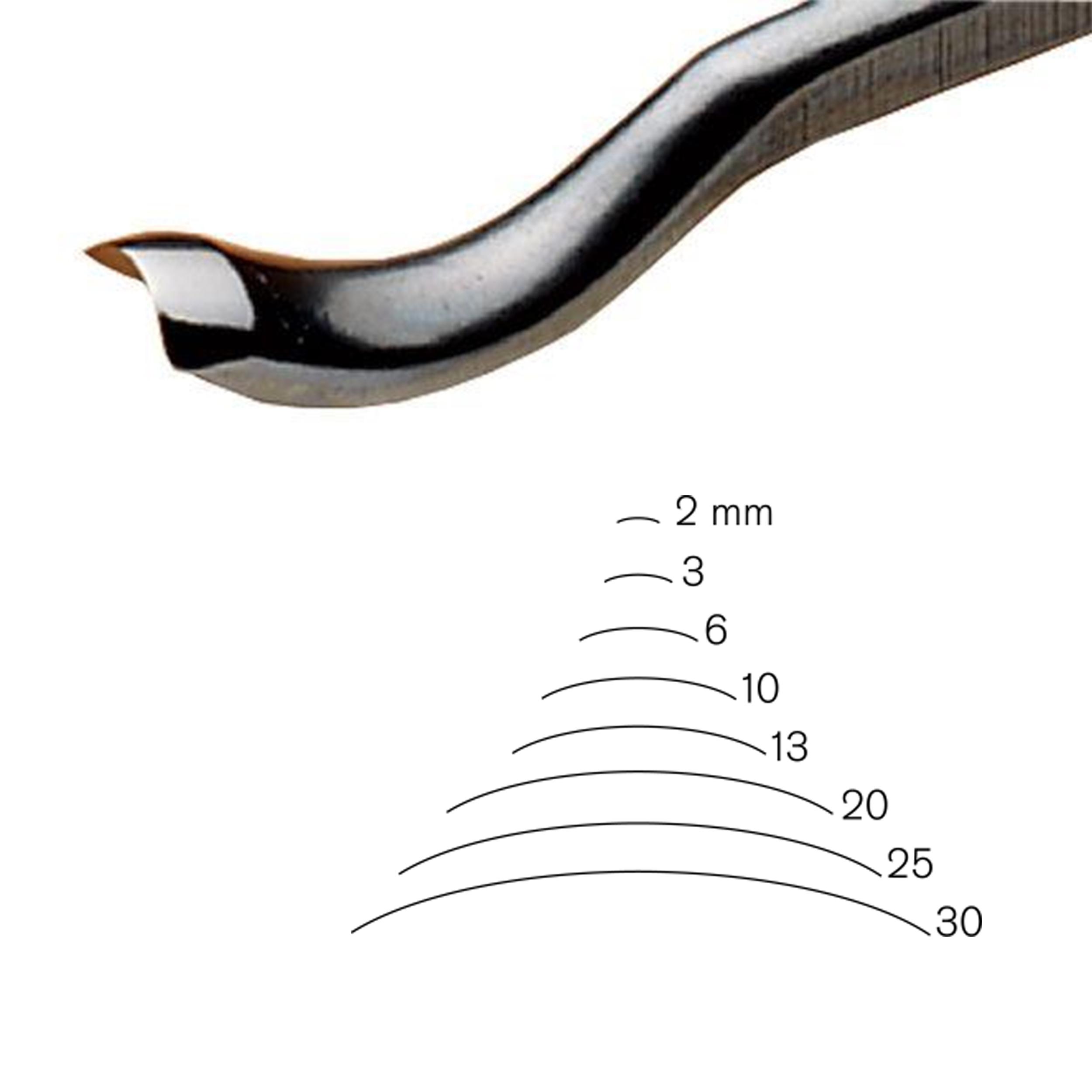 #25 Sweep Back Bent Gouge 2 mm, Full Size