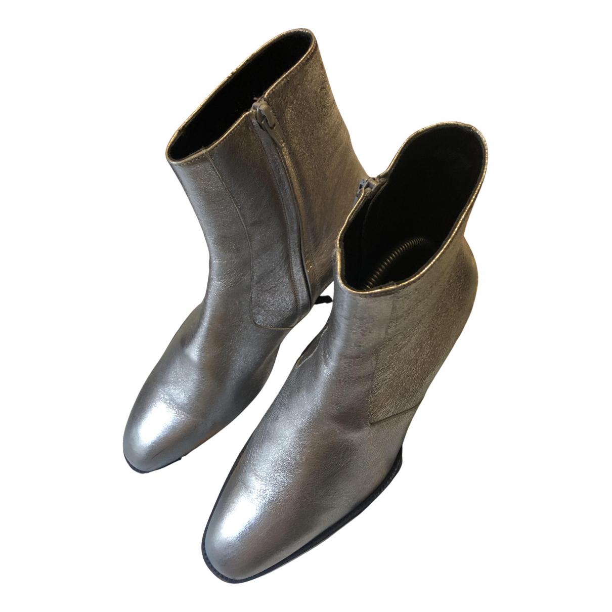 Saint Laurent \N Stiefel in  Silber Leder