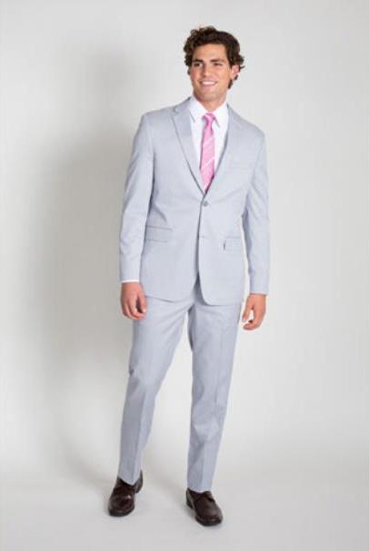 Mens 2 Button Blue Seersucker Slim Fit Suit