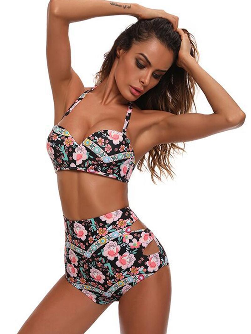Ericdress Hollow Flower Print High Waist Bikini Set