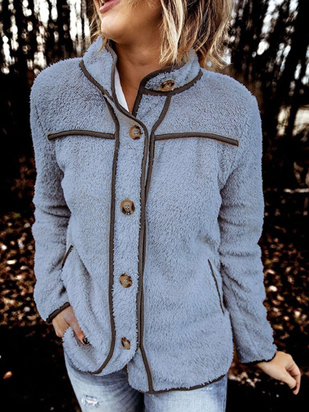Milanoo Women Jacket Stand Collar Long Sleeves Buttons Faux Fur Buttons Women Outfit