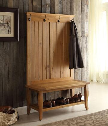 76063ANT01U Santa Collection Hall Tree with 4 Hooks  Bottom Shelf  Wide Seat and Pine Wood Frame in Antique Pine