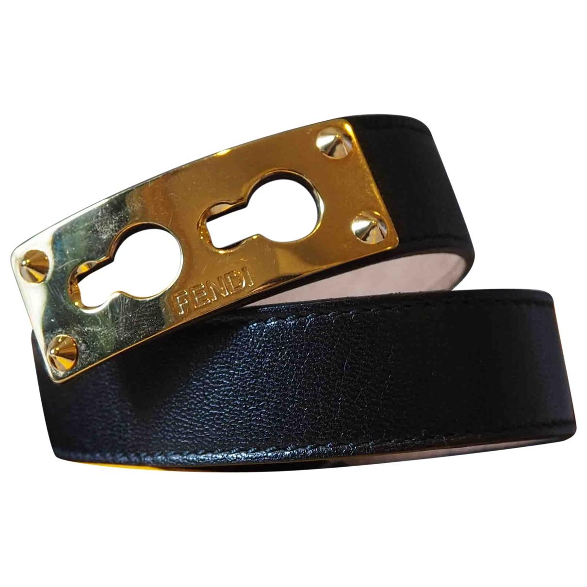 Fendi - Bracelet Serrure pour femme en cuir - noir