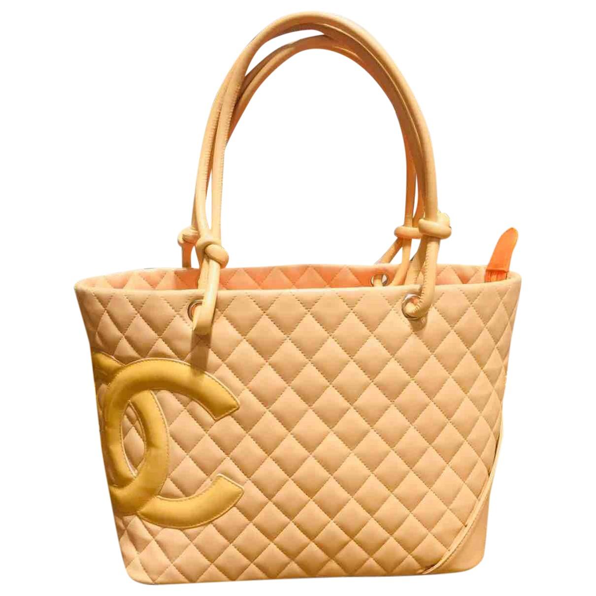 Chanel - Sac a main Cambon pour femme en cuir - beige