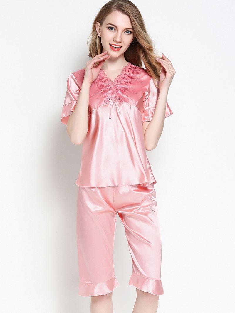 Ericdress Loungewear V-Neck Falbala Short Sleeve Knee Length Pajama Set