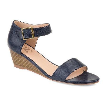 Journee Collection Womens Gladis Pumps Open Toe Wedge Heel, 10 Medium, Blue