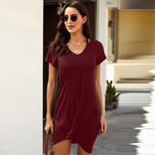 V-neck Peekaboo Twist Hem Tee Dress