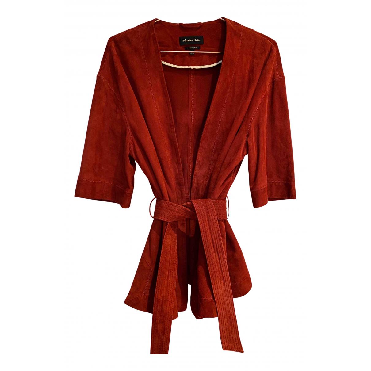 Massimo Dutti - Veste   pour femme en cuir - rouge