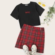 Baby Embroidery Tee & Tartan Buckle Skirt