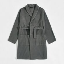 Men Shawl Collar Pocket Front Self Belted Teddy Robe