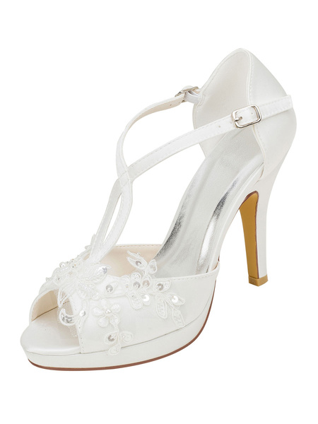 Milanoo Platform Wedding Shoes T-Bar Sandals Beaded Peep Toe Stiletto Heel Bridal Shoes