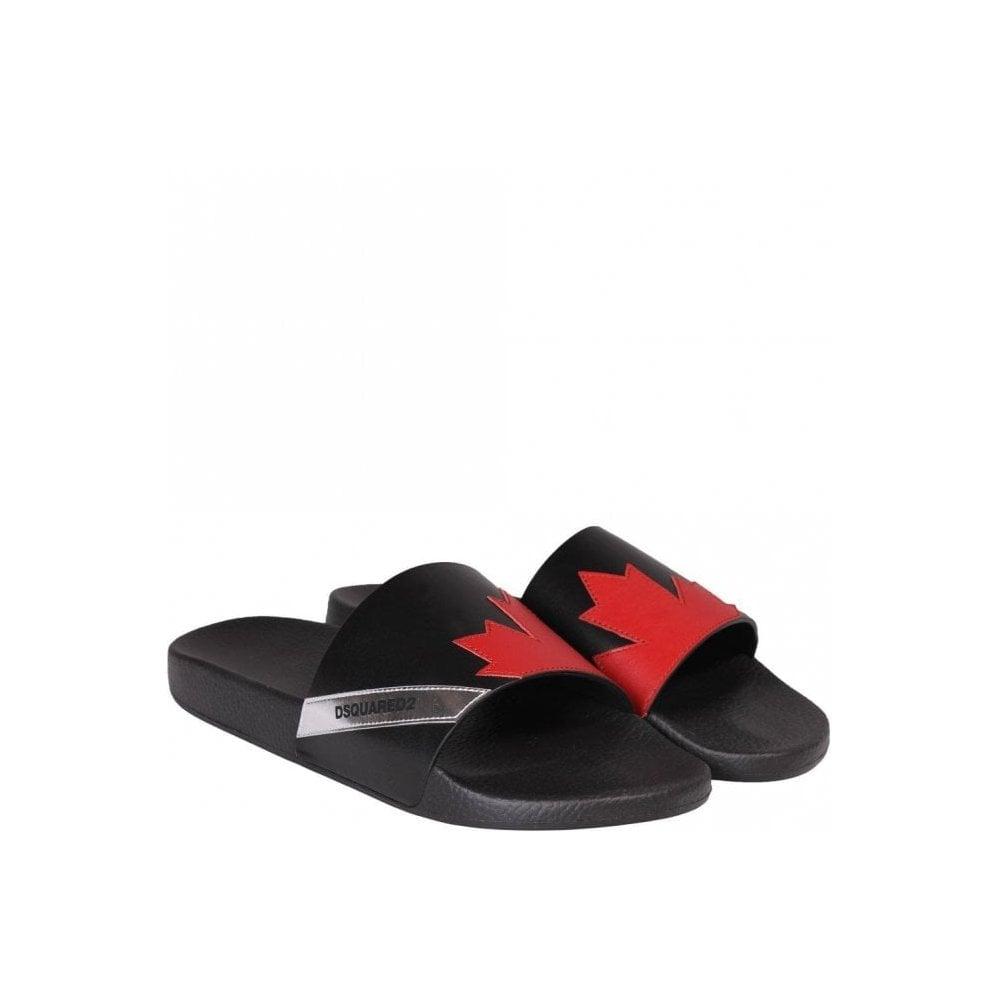 Dsquared2 Maple Leaf Sliders Colour: BLACK, Size: UK 6