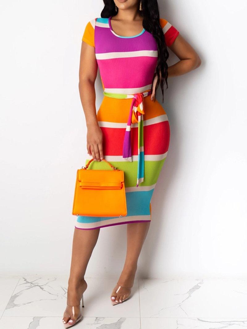 Ericdress Short Sleeve Scoop Hollow Color Block Sexy Dress