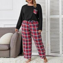 Pajama Set mit Kontrast Taschen und Karo Muster