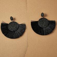 1 Paar Strass Gravierte Quaste Dekor Ohrringe