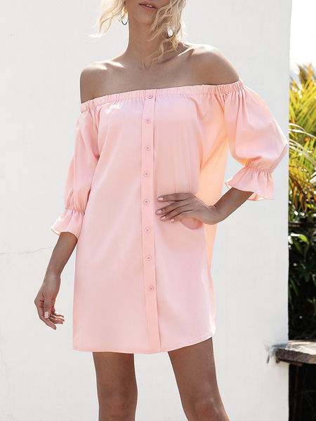 Yoins Front Button Off The Shoulder Long Sleeves Dress