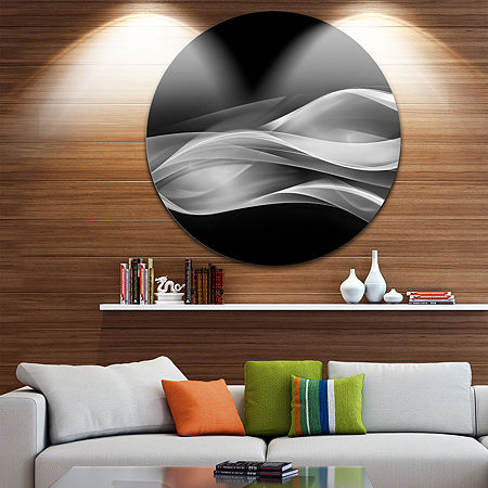 Design Art Glittering Silver Pattern Disc Abstract Circle Metal Wall Art, One Size , Silver