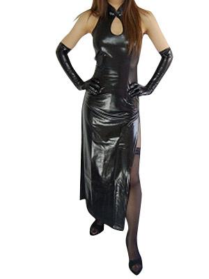 Milanoo Disfraz Halloween Negro brillante metalizado Halloween sexy vestido de Catwoman Halloween