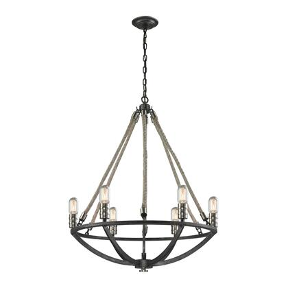 63057-6 Natural Rope 6 Light Chandelier in Silvered Graphite/Polished Nickel