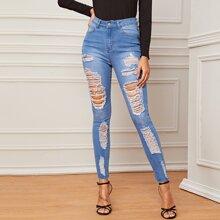 High Waist Distressed Skinny Jeans