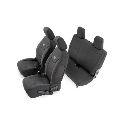 Rough Country Neoprene Front and Rear Seat Covers (Black) - 91006