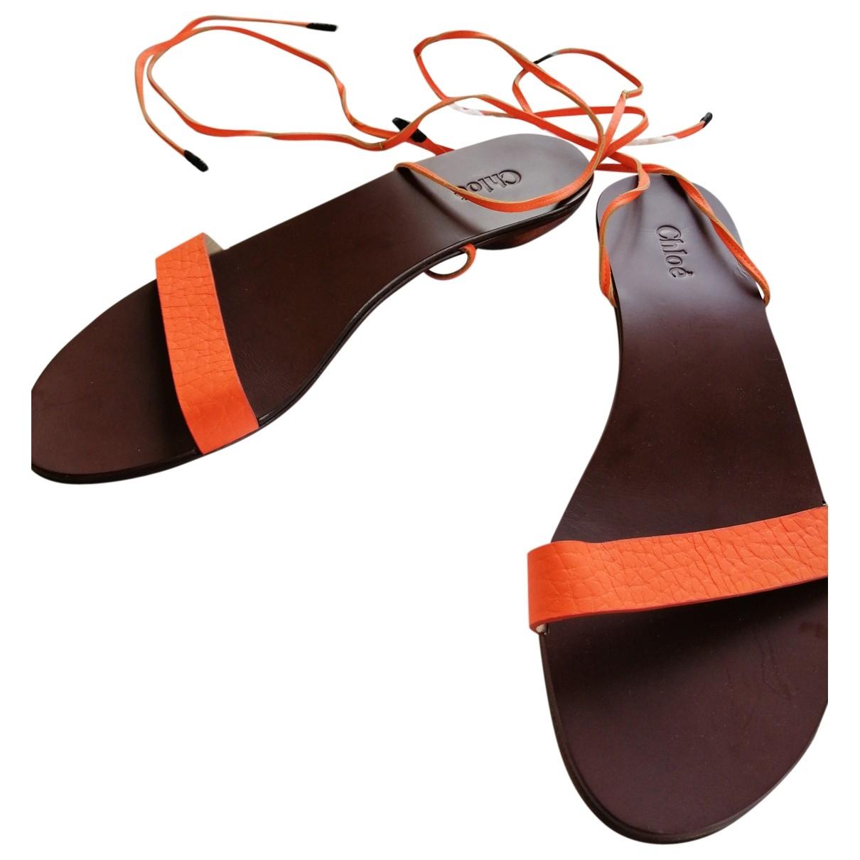 Chloe - Sandales   pour femme en cuir - orange