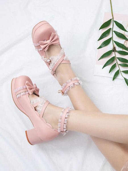 Milanoo Sweet Lolita Footwear Bows Ruffles PU Leather Chunky Heel Lolita Pumps