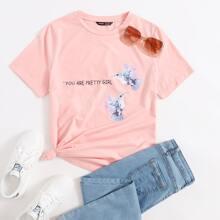 Camiseta con estampado de slogan y colibri