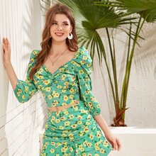 Bluse mit Blumen Muster, Twist vorn, Puffaermeln und Raffung