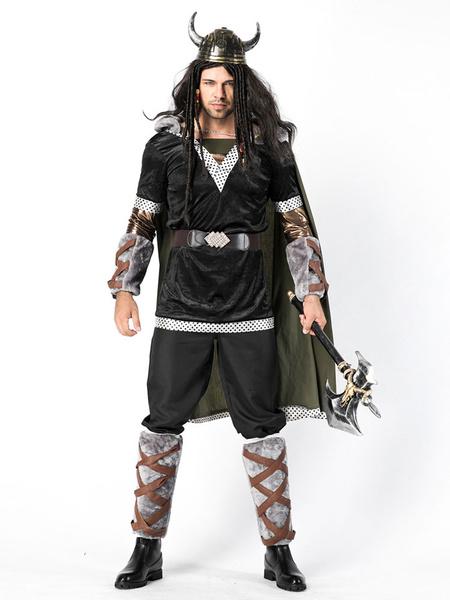 Milanoo Disfraces de guerrero vikingo de Halloween Traje negro para disfraces para adultos