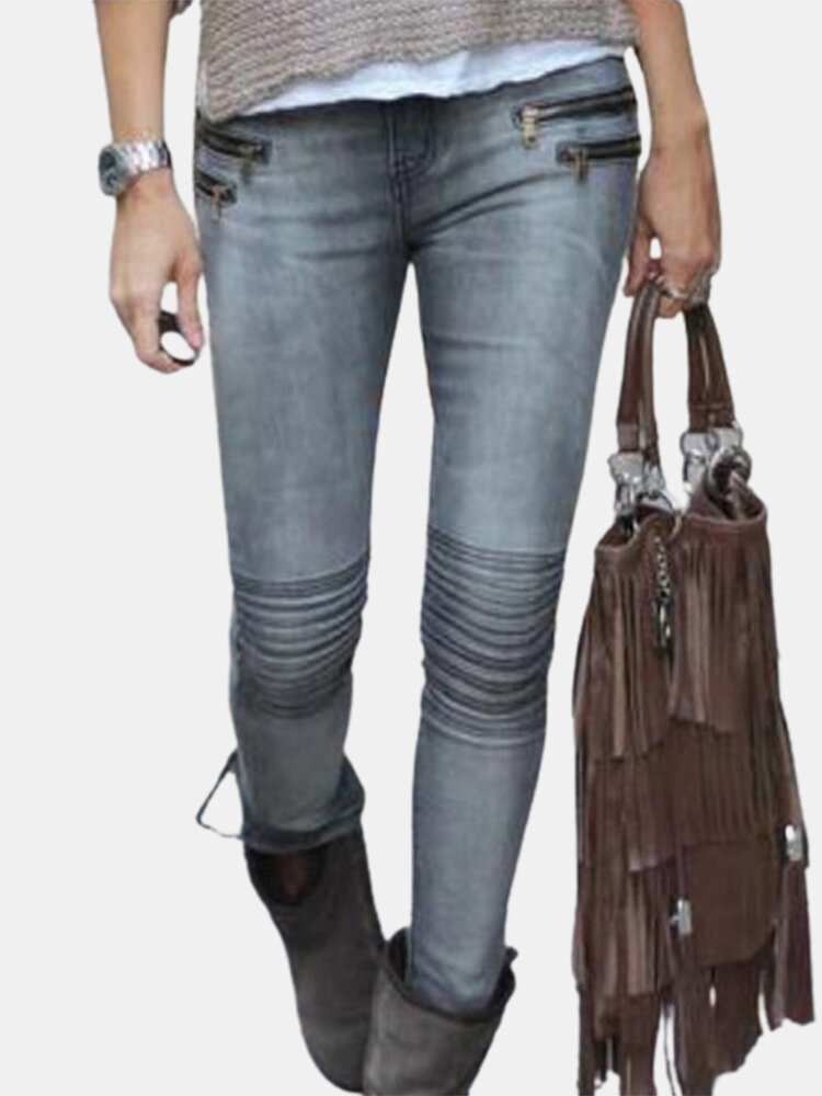 Solid Color Zip Front Casual Demin Jeans For Women