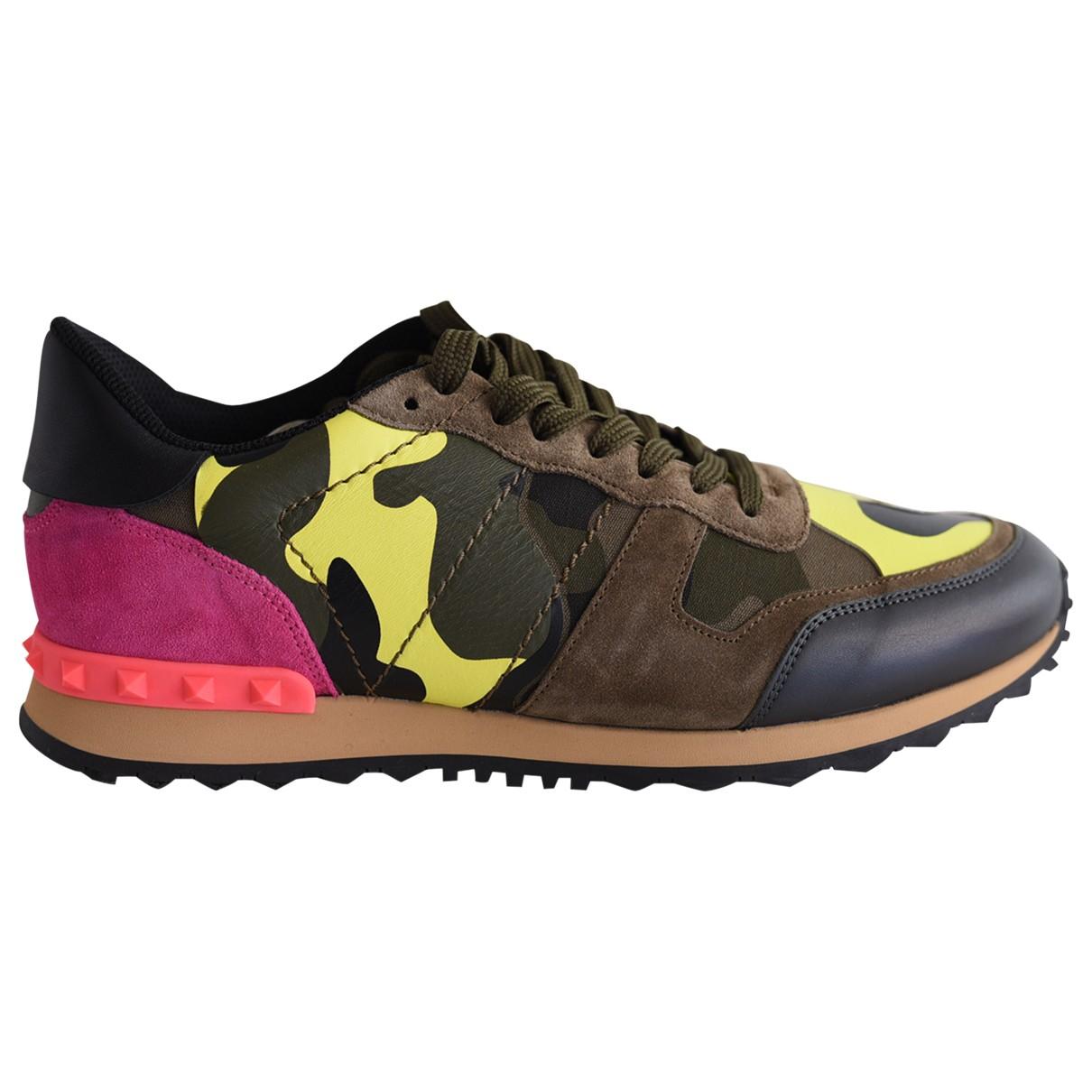 Valentino Garavani Backnet Sneakers in  Khaki Leder