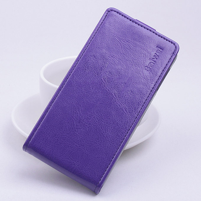 Protective Hard Cover Up&Down Flip Stand Leather Case for OUKITEL Pure O902 Smartphone - Purple