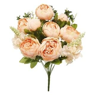 Mixed Peony Hydrangea Flower Stems Bush Bouquet 19in (Blush Peach - 19 L x 11 W x 11 DP)