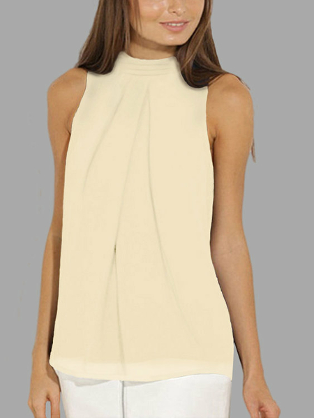 Yoins Apricot High Neck Open Back Pleated Chiffon Tank Top