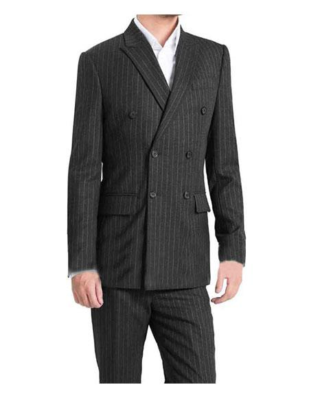 Mens Kingsman Striped Double Breasted Button Closure  Lined Grey Suit