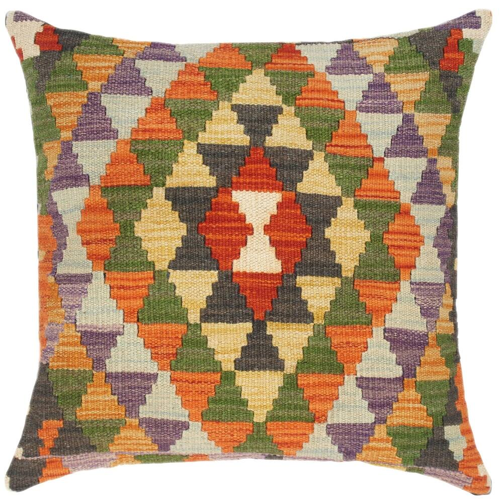 Rustic Sonya Hand-Woven Turkish Kilim Throw Pillow (Polyester - 18 in. x 18 in. - Accent - Rust - Single)