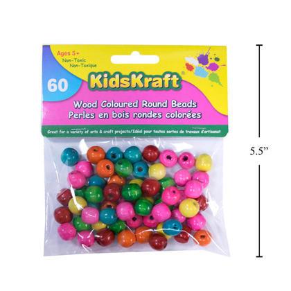 Perles en bois colorées avec ficelle pour bricolage, 60 pièces - KidsKraft