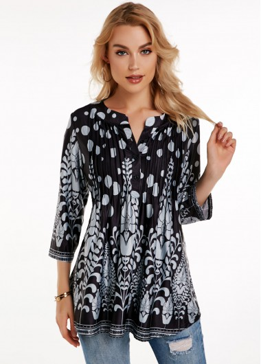 Button Detail Crinkle Chest Printed Blouse - L